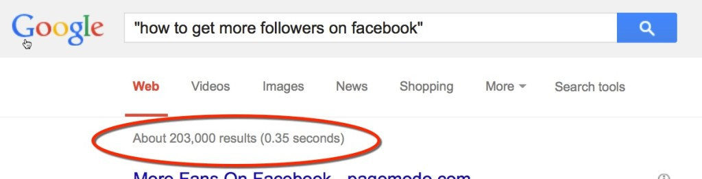 Google Search on How to Get More Followers on Facebook